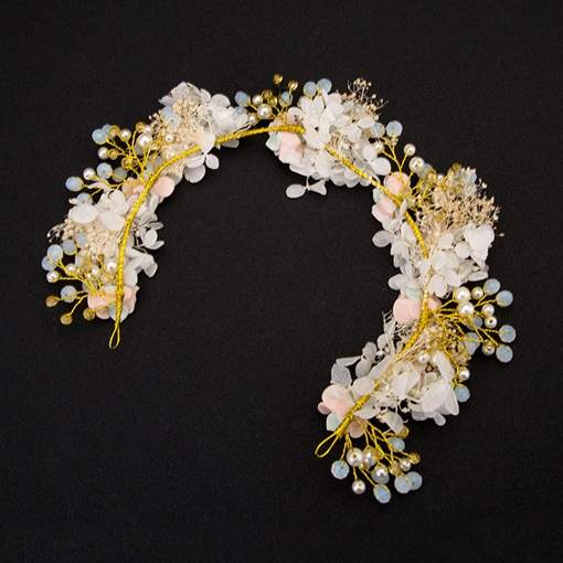 Pearl Inlaid Hairband Floral Wedding Hair Accessories