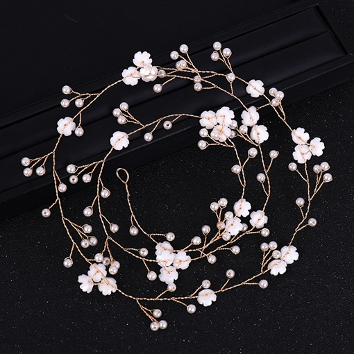 Pearl Inlaid Flowers Hair Rope Korean Wedding Hair Band