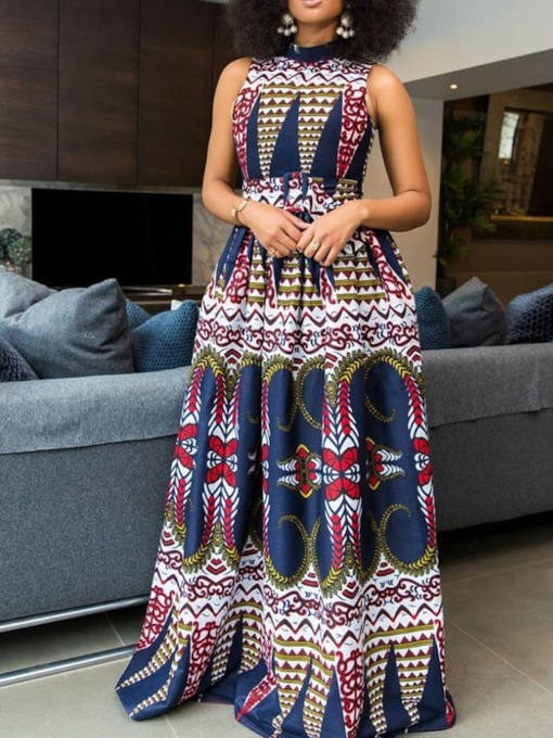 African Fashion Sleeveless Print Expansion Women's Maxi Dress