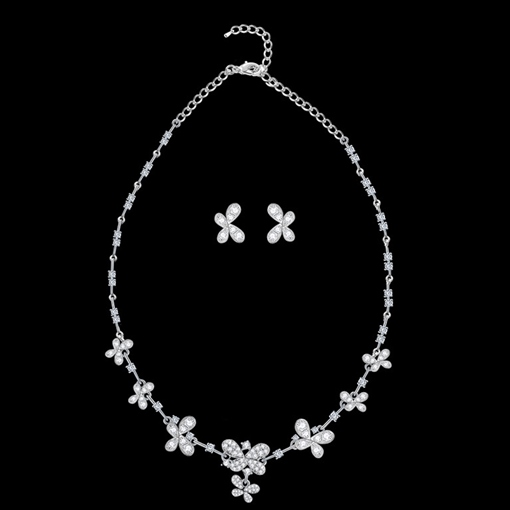 E-Plating Floral Necklace Wedding Jewelry Sets