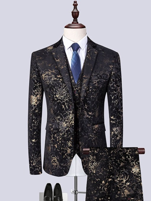 Print Floral Blazer Formal Men's Dress Suit