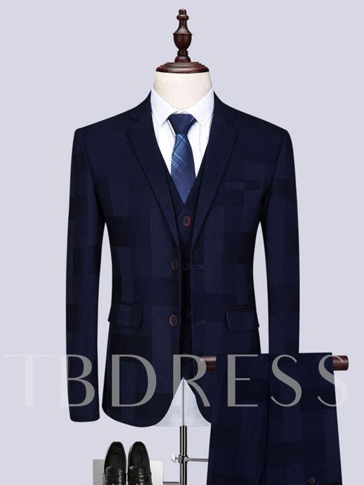 Single-Breasted Pants Formal Plaid Men's Dress Suit