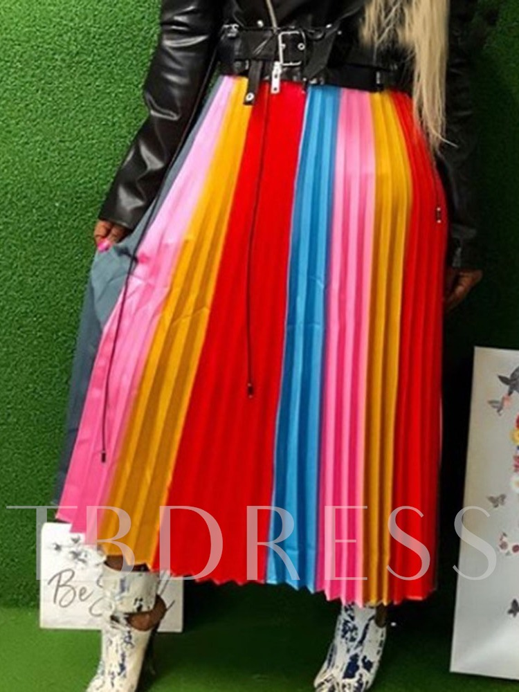 Pleated Color Block Mid-Calf Patchwork Fashion Women's Skirt