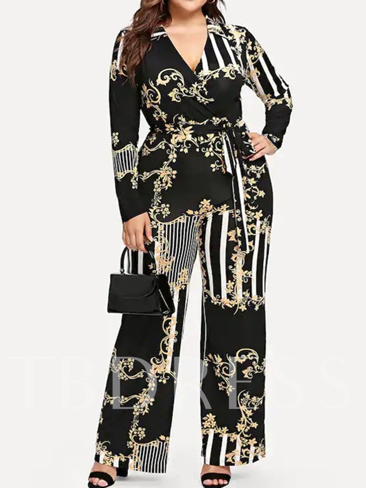Fashion Color Block Print Full Length High Waist Women's Jumpsuit