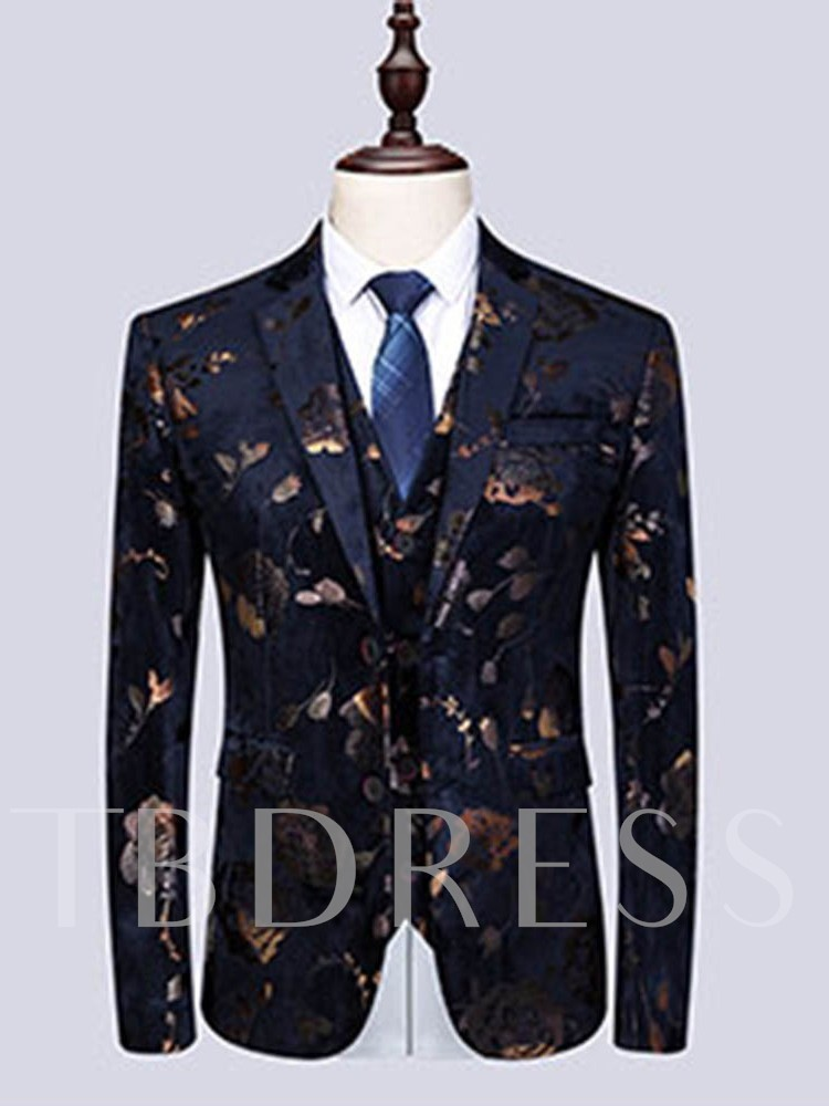 Single-Breasted Print Floral Blazer Men's Dress Suit