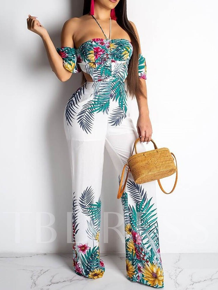 Lace-Up Casual Floral Full Length Slim Women's Jumpsuit