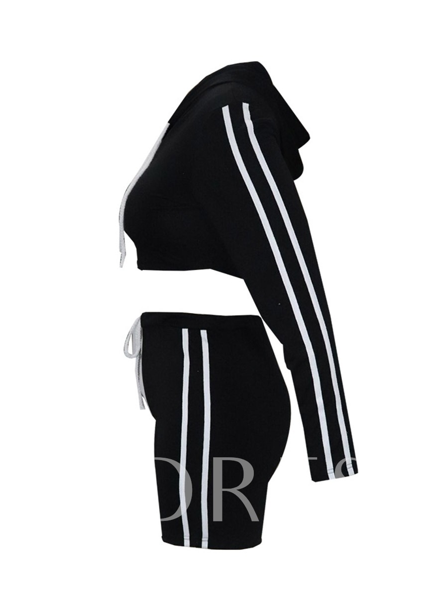 Women's Stripes Long Sleeve Crop Top Hoodie Shorts 2 Piece Tracksuit
