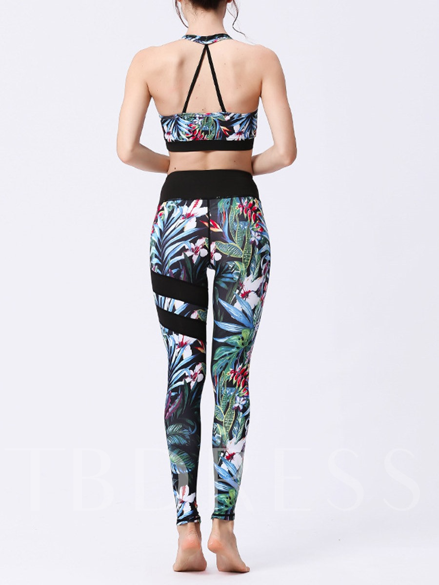Floral Sleeveless Two Pieces Gym Yoga Workout Suit Set