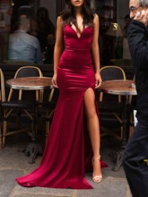 Sexy Split-Front Sweep Train Sheath Evening Dress 2019