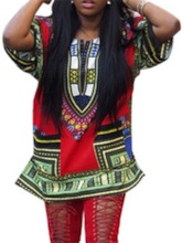 Color Block Half Sleeve Mid-Length African Fashion Women's T-Shirt