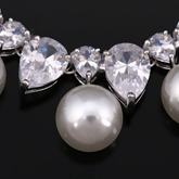 European Water Drop Necklace Pearl Wedding Jewelry Sets
