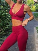 Solid Deep-V Sleeveless Active Set for Women