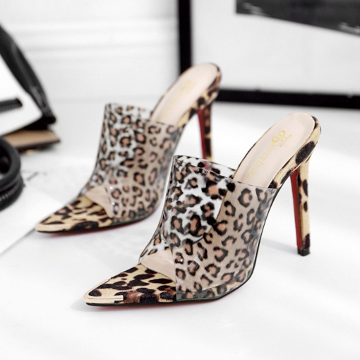 Leopard Print Stiletto Heel Slip-On Women's Slippers
