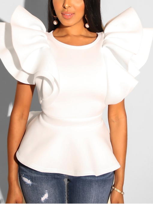 Ruffles Plain Round Neck Peplum Women's Blouse