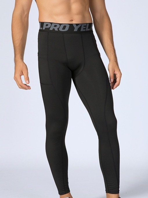 Letter Pocket Compression Men's Sports Leggings