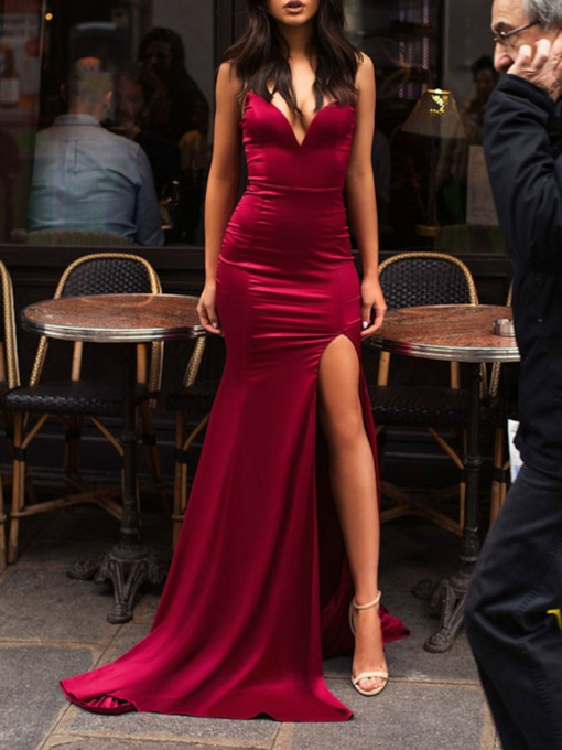 Sweetheart Split-Front Sweep Train Sheath Prom Dress 2019