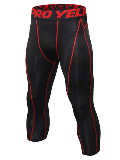 Letter Mid-Calf Compression Sports Men's Leggings