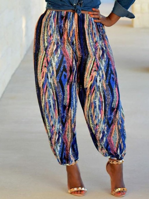 Loose Print Ankle Length Women's Casual Pants