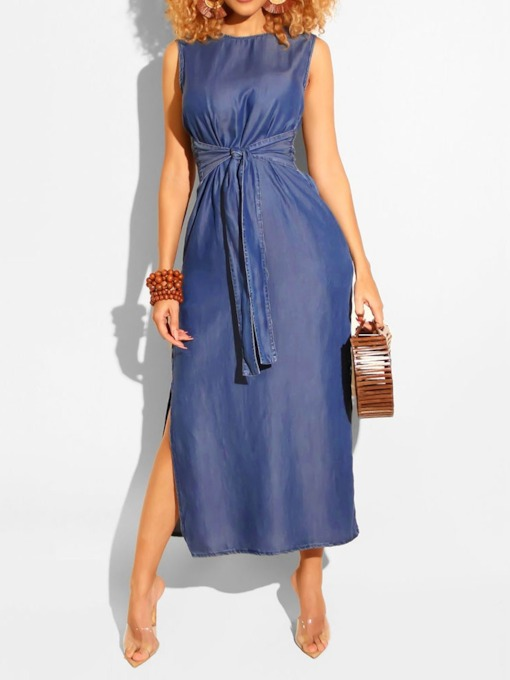 Lace-Up Sleeveless Round Neck Split Women's Maxi Dress