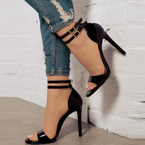 Heel Covering Open Toe Buckle Stiletto Heel Buckle Sandals