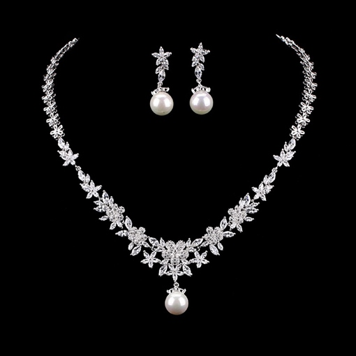 Gemmed Earrings Spherical Jewelry Sets (Wedding)