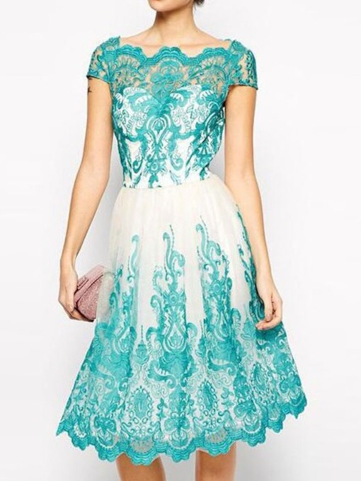 Lace Short Sleeve Regular Hollow Women's Day Dress