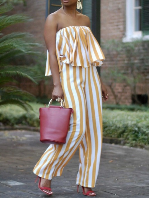 Stripe Full Length Fashion Wide Legs Women's Jumpsuit