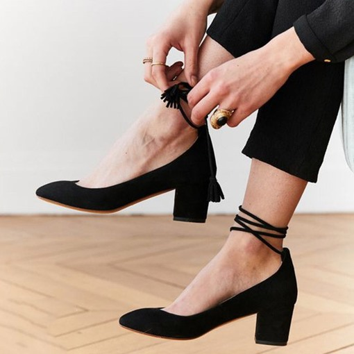 Pointed Toe Chunky Heel Lace-Up Lace-Up Mid-Heel Pumps