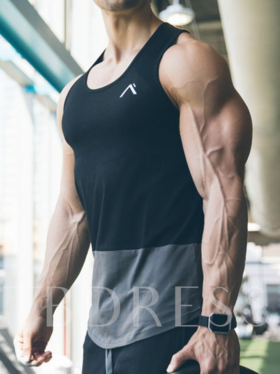 Cotton Color Block Breathable Men'sSleeveless Vests