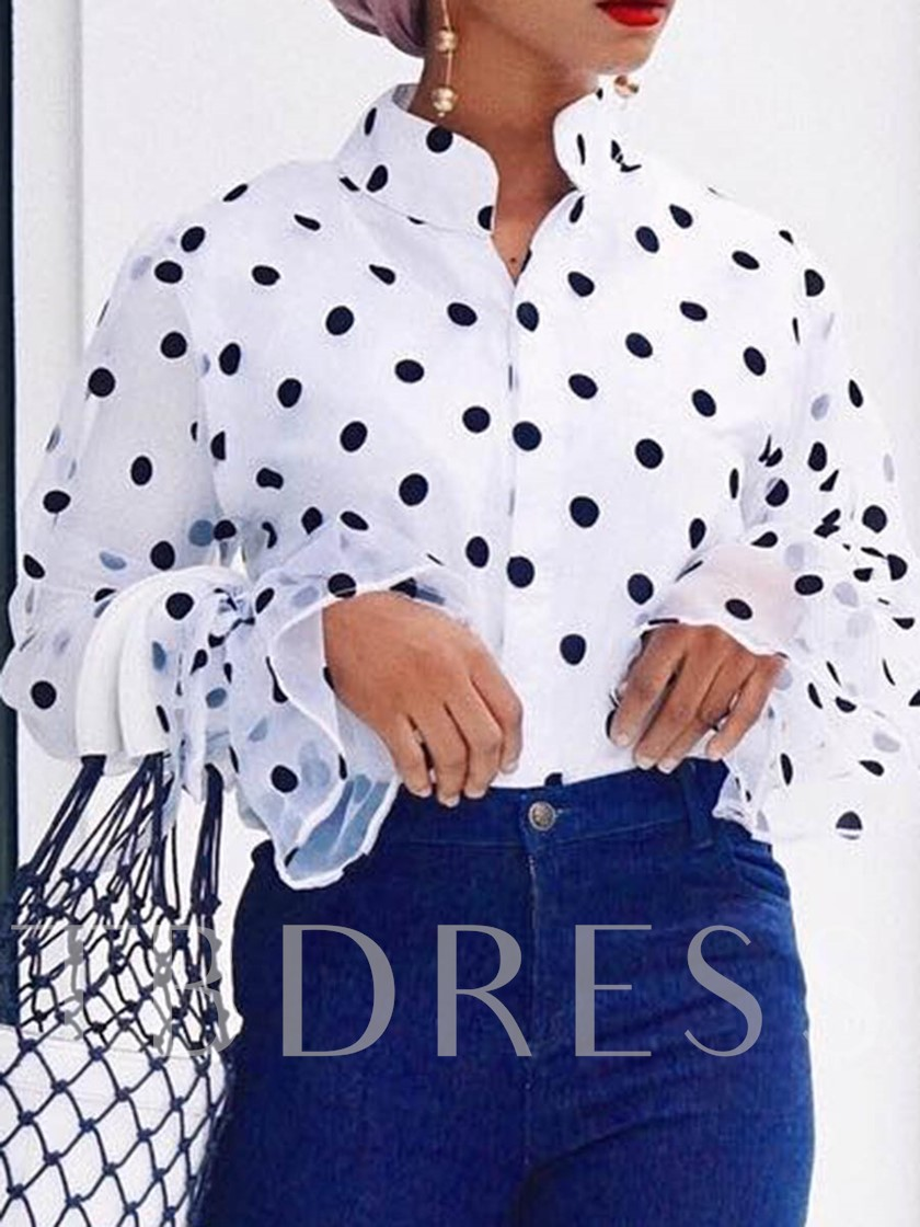Flare Sleeve Print Polka Dots Stand Collar African Fashion Women's Blouse