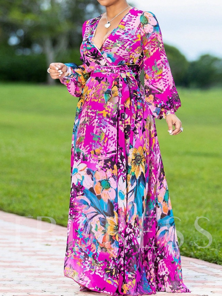 Long Sleeve Print V-Neck Pullover Women's Maxi Dress