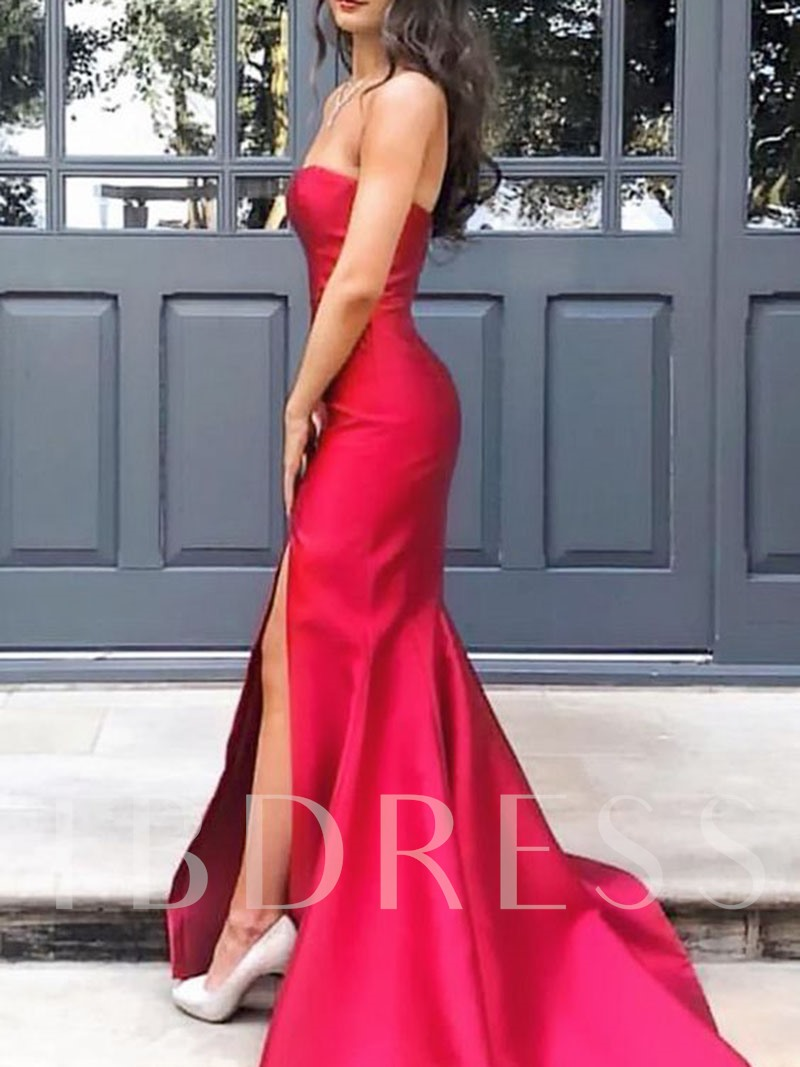 Sweep Train Sheath Split-Front Prom Dress 2019
