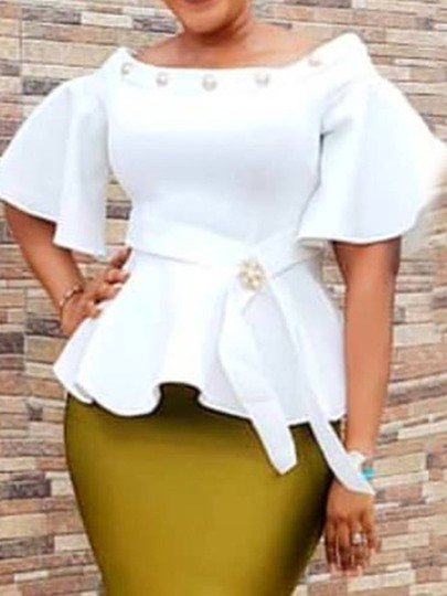African Fashion Plain Flare Sleeve Off Shoulder Peplum Women's Blouse