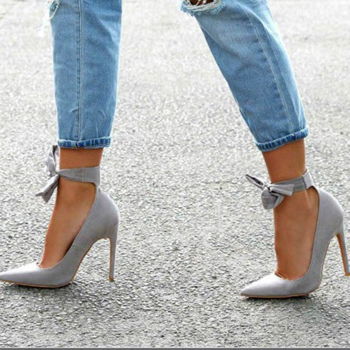 Bow Stiletto Heel Lace-Up Pointed Toe Women's Pumps