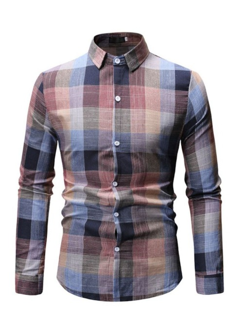 Fashion Plaid Lapel Men's Shirt