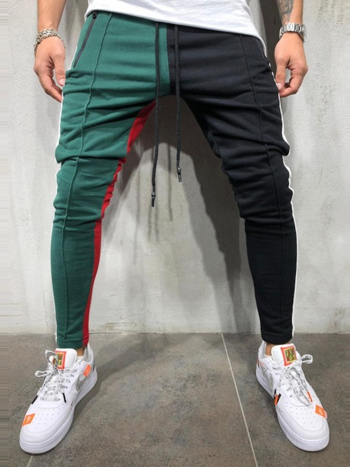Color Block Patchwork Casual Men's Casual Pants