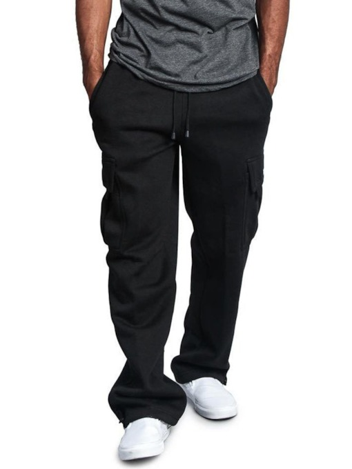 Straight Lace-Up Plain Casual Men's Casual Pants