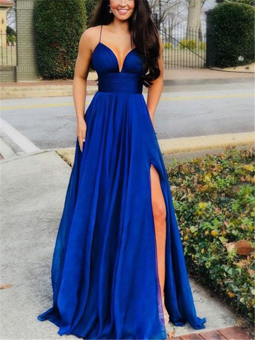 Split-Front Spaghetti Straps Dark Royal Blue Evening Dress