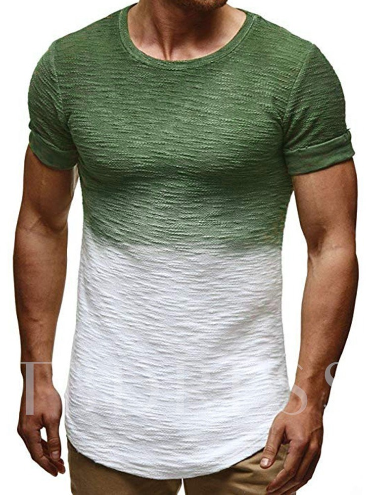 Round Neck European Color Block Short Sleeve Men's T-shirt