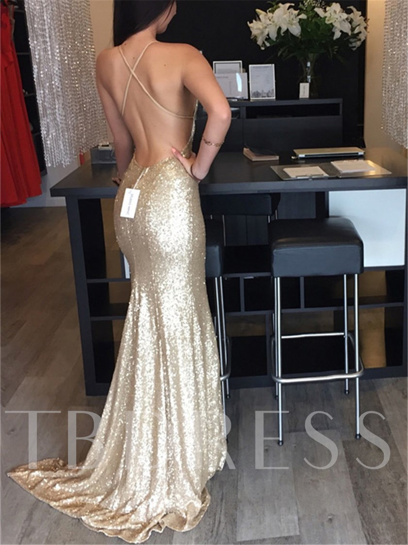 Court Train Sleeveless Sequins Halter Evening Dress 2019
