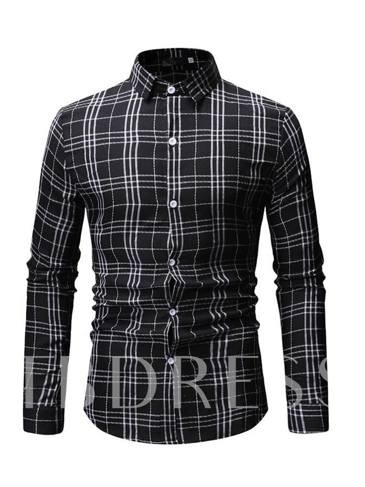 Plaid Casual Single-Breasted Lapel Men's Shirt