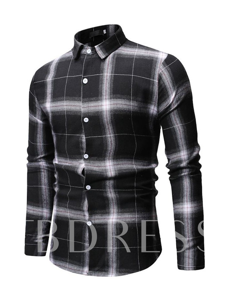 Plaid Casual Single-Breasted Men's Shirt