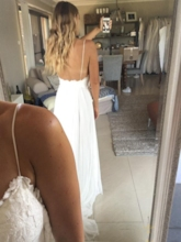Spaghetti Straps Lace Beach Wedding Dress 2019