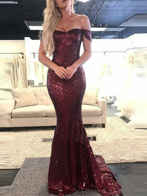 Off-The-Shoulder Mermaid Sequins Evening Dress 2019