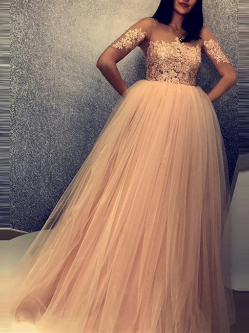 Scoop Floor-Length Sweep Train Short Sleeves Prom Dress 2019