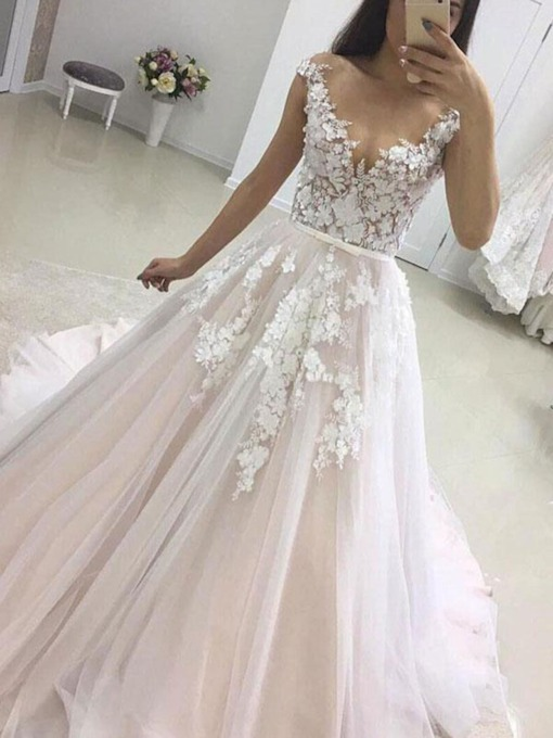 Illusion Neck Appliques Cap Sleeves Wedding Dress 2019