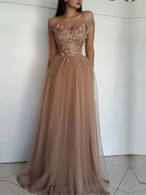 Floor-Length Off-The-Shoulder A-Line Sweep Train Prom Dress 2019