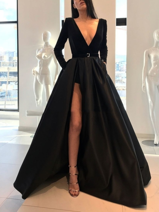 Deep V-Neck Belt Split-Front Long Sleeves Evening Dress