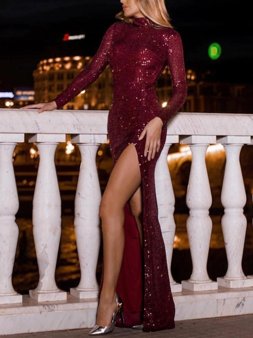 Floor-Length Long Sleeves Trumpet High Neck Cocktail Dress 2019