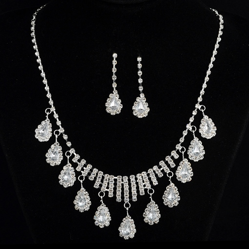 Diamante Earrings Water Drop Jewelry Sets (Wedding)